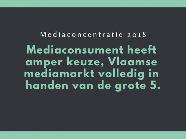 Mediaconcentratie 2018: Mediaconsument heeft amper keuze, Vlaamse mediamarkt volledig in handen van de grote 5.
