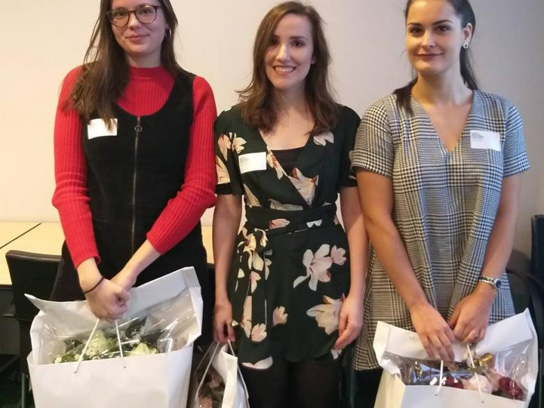 Laureaten Thesisprijs 2018 - van links naar rechts: Charlotte De Backer, Jitte Vandoorne, Nadia Feci